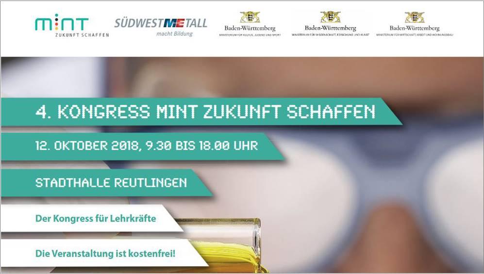 """12. Oktober 2018: MINT-Kongress """"Schule im digitalen Wandel: Organisations-, Medien- und Unterrichtsentwicklung neu gestalten"""""""