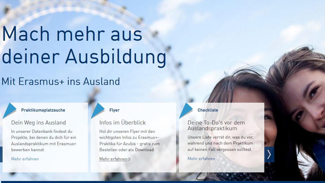 Plattform zur Vermittlung von Auslandsaufenthalten für Schulabgänger, Auszubildende und junge Fachkräfte